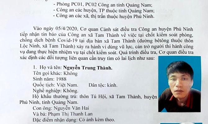 Công an Phú Ninh ra thông báo truy tìm Nguyễn Trung Thành. Ảnh: Châu Hải.