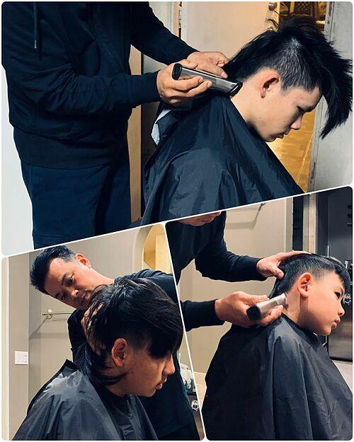 Trước đó, ca sĩ Trizzie Phương Trinh cũng nhờ bạn trai đến cắt tóc cho ba cậu con trai.