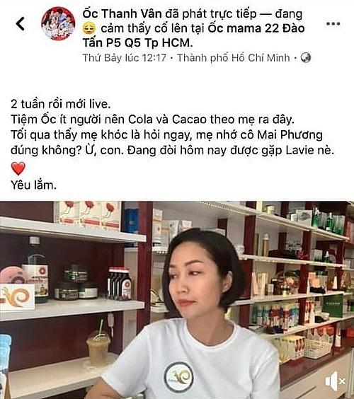 Dòng trạng thái khiến Ốc Thanh Vân bị tố PR cho cửa hàng dù tâm sự nhớ Mai Phương.