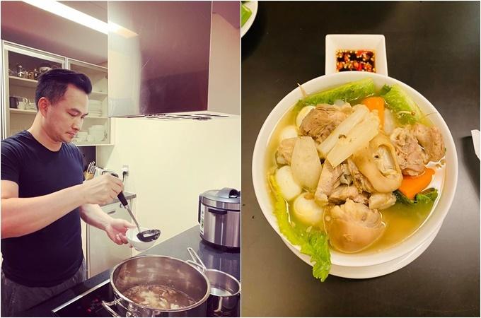 Lý Thùy Chang khoe được bạn trai Chi Bảo vào bếp nấu ăn: Anh chồng cặm cụi 12 tiếng nấu tô hủ tiếu. Con vợ ăn đúng trong 12 phút. Hủ tiếu sườn, giò heo, không béokhông lấy tiền.