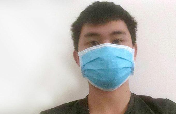 Bệnh nhân 265 đang điều trị nhiễm nCoV tại Bệnh viện Đa khoa Khu vực cửa khẩu Cầu Treo. Ảnh: Nhân vật cung cấp
