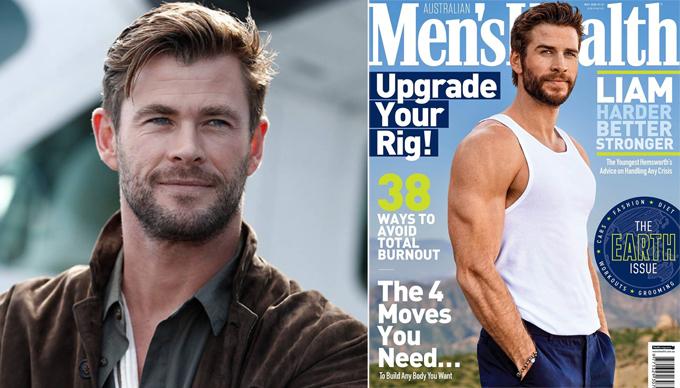 Chris Hemsworth (trái) khen ngợi hình ảnh khỏe khoắn của em trai trên bìa tạp chí mới.