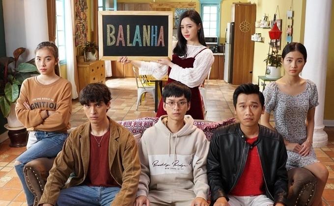 Trần Vân vào vai Nhiên râu (bìa trái) trong phim Nhà trọ Balanha.
