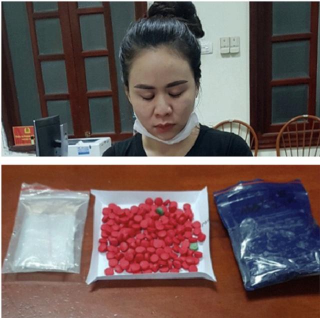 Hà bị bắt giữ khi đang bán ma túy cho một đối tượng trên địa bàn. Ảnh: Công an Bắc Giang.
