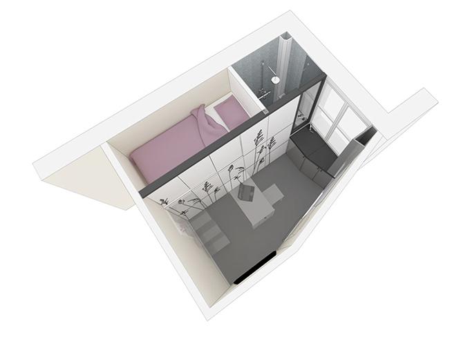 Phối cảnh 3D của căn hộ siêu nhỏ.