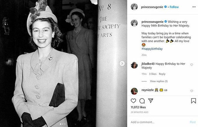 Công chúa Eugenie đăng ảnh khi Nữ hoàng còn trẻ và chúc mừng sinh nhật bà nội.