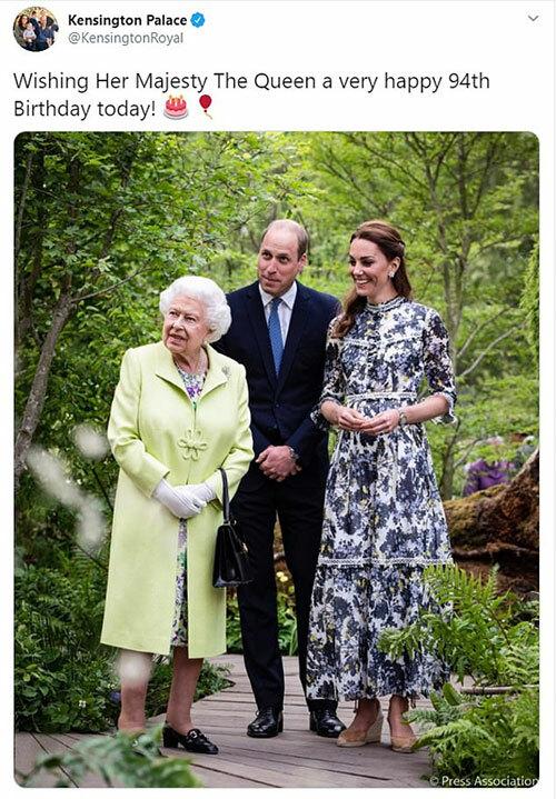 Tài khoản của vợ chồng William - Kate chúc mừng sinh nhật Nữ hoàng.