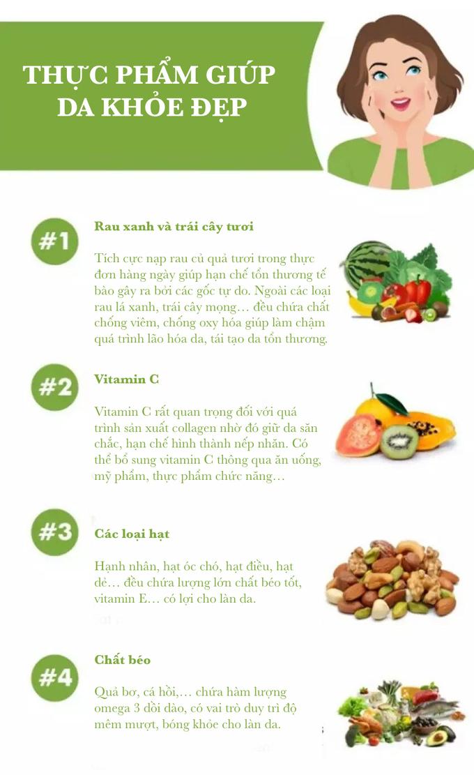 4 nhóm thực phẩm giúp da bóng khỏe