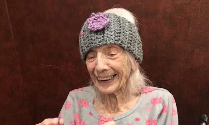 Cụ bàAngelina Friedman tại viện dưỡng lão ở New York tuần trước. Ảnh: CNN.