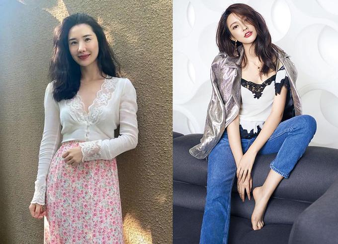 Vợ của Tưởng Phàm (trái) và người mẫu Trương Đại Dịch. Ảnh:Weibo.