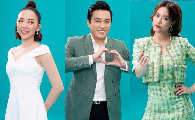 Từ trái qua: Tóc Tiên, Lam Trường và Hoàng Thuỳ Linh là ba trong những ca sĩ tham gia MV.