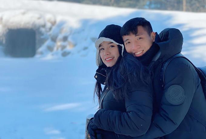 Bùi Tiến Dũng đưa vợ đi du lịch Hàn Quốc hồi đầu năm nay. Ảnh: NVCC.