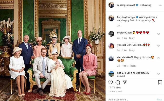Nhà Cảmbidge chúc sinh nhật cháu họ Archie bằng tài khoản Instagram Kensington Royal.