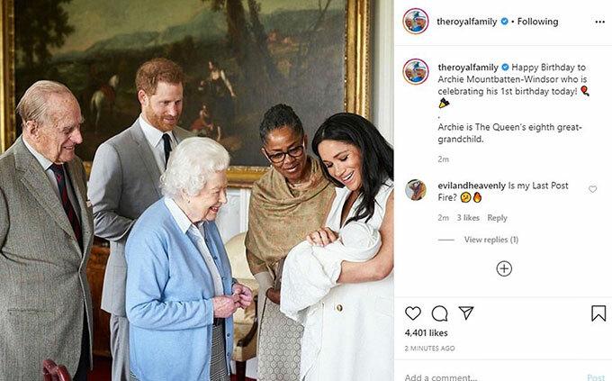 Lời chúc mừng sinh nhật của nhà hoàng gia gửi Archie trên Instagram.