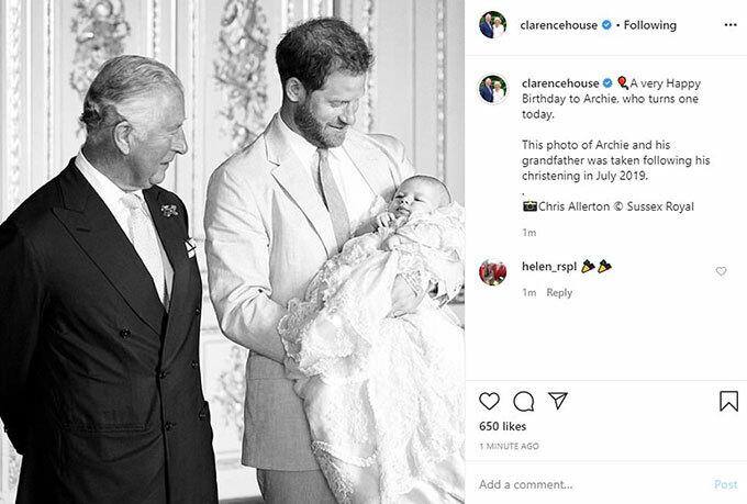 Vợ chồng Thái tử Charles mừng sinh nhật cháu nội Archie.