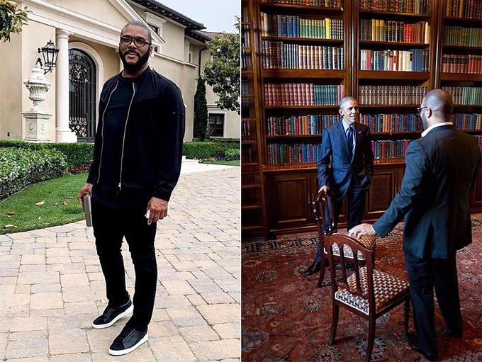 Tyler Perry tại biệt thự ở Beveryly (trái) và từng mời Obama đến chơi nhà vào năm ngoái (phải). Ảnh: Instagram.