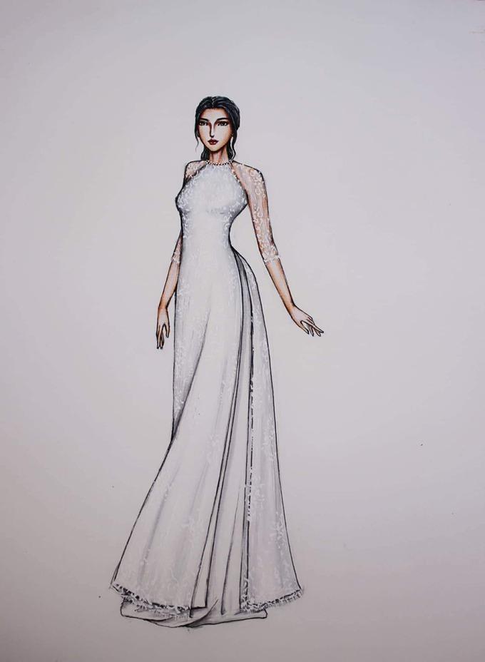 Để đáp ứng yêu cầu của cô dâu Thu Trang về một thiết kế đơn giản, sang trọng, nhà mốt đã phác thảo áo dài mang phom dáng truyền thống, có cổ tròn. Ảnh:Huỳnh Huấn.