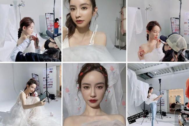 Trương Đại Dịch khoe ảnh mặc váy cưới.