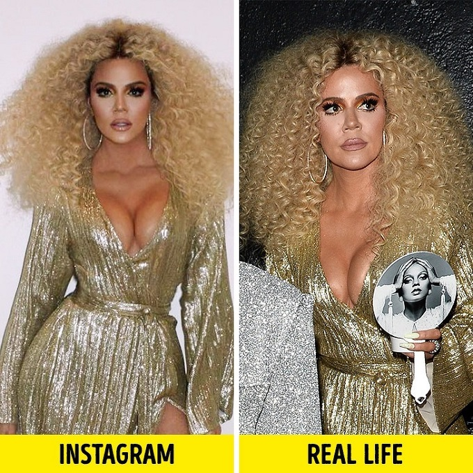 So với ảnh đăng Instagram, gương mặt Khloé Kardashian ngoài đời có phần kém thon gọn và không được săn chắc cho lắm. Sống mũi của thành viên nhàKardashian có phần hơi thô, to bè chứ không được thanh thoát như trong ảnh đã qua photoshop.