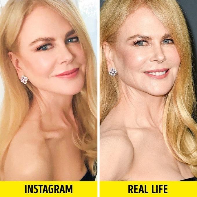 Ở tuổi 52, Nicole Kidman không tránh khỏi những nếp nhăn quanh mắt, khóe miệng, vùng da cổ. Ngoài ra, công nghệ photoshop còn giúp minh tinh Australia có đôi mắt to, hút hồn hơn so với thực tế.