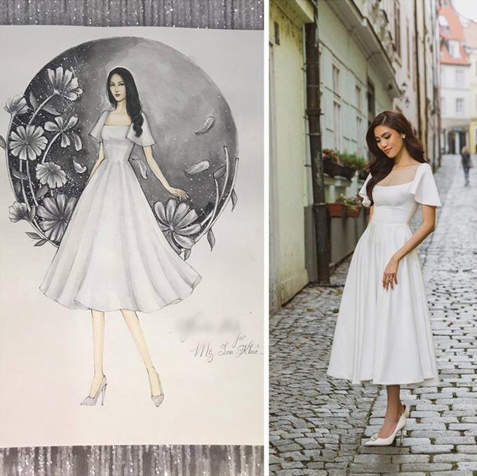 Bộ đầm dáng xoè mà Lan Khuê diện để chụp ảnh cưới mang phong cách gần tương tự với váy Nam Phương Hoàng hậu đã diện, làm từ vải lụa Italy, taffeta. Váy có giá bán 1,8 triệu đồng.