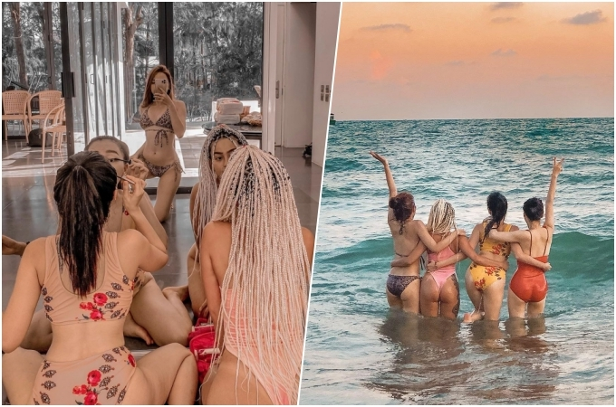 Nhóm bạn của Băng Di chuẩn bị trước khi đi biển. Resort có bãi biển riêng nên bạn không phải chen chút với đông du khách. Giá thuê thấp nhất cho một villa vừa đủ 6 người ở, khoảng 14 triệu đồng/đêm.