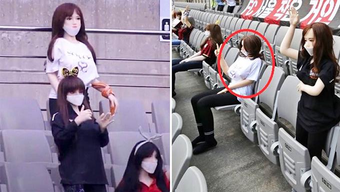 Búp bê tình dục trên khán đài trong trận đấu giữaFC Seoul vàGwangju FC. Ảnh: Twitter.