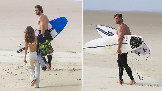 Bộ ba cùng nhau trở về sau buổi tập luyện trên biển. Giữa những ngày cách ly vì dịch bệnh, hai anh em Chris - Liam dành trọn thời gian ở nhà bên người thân và vẫn duy trì thói quen tập thể thao để giữ dáng.