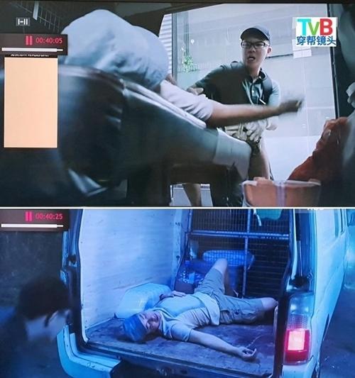 Ở cảnh trước, người mặc áo trắng bị đạp ngã xuống ghế trên oto. Qua cảnh sau, người này được phát hiện nằm dưới sàn xe.