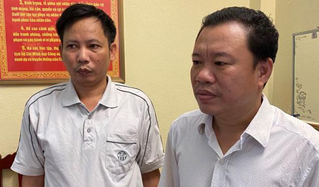 Hai bị can Lê Văn Dương và Lê Minh Thương (phải) bị công an tạm giam 4 tháng.