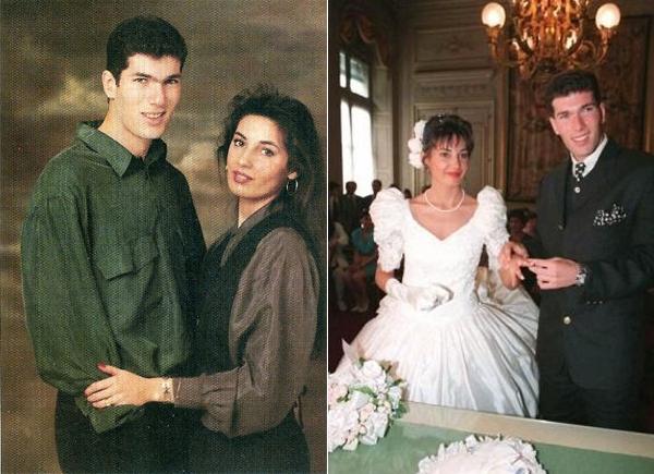 Cựu danh thủ Pháp và bà xã Veronique lần đầu gặp gỡ tại mọt hộp đêm ở Paris năm 1989 và yêu nhau từ cái nhìn đầu tiên Khi đó, Zidane mới 17 tuổi là một cầu thủ đầy triển vọng còn nàng 19 với tương lai sáng lạn của một vũ công. Sau 5 năm hẹn hò, huyền thoại một thời và người đẹp hơn hai tuổi tổ chức đám cưới. Bố mẹ vợ Zidane đều là những người Tây Ban Nha di cư sang Pháp.