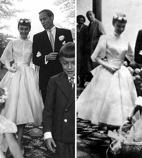 Khi nữ diễn viên Audrey Hepburn sóng đôi cùng chú rể của mình - Mel Ferrer tại hôn lễ vào năm 1954, cô đồng thời cũng đã tạo ra một bước ngoặt lịch sử trong lĩnh vực thời trang cưới, làm thay đổi định kiến rằng cô dâu phải luôn thướt tha trong bộ soiree đuôi dài hàng chục mét. Hình ảnh Audrey trong chiếc váy ngắn bồng bềnh, eo thắt nơ lụa và đeo găng tay dài đến khuỷu tay từ đó đã trở thành nguồn cảm hứng của cho các cô dâu mọi thời đại. Và các thiết kế váy cưới ngắn (tea-length, mini hay hi-low) cũng chưa từng vắng bóng trên các sàn diễn thời trang danh tiếng.