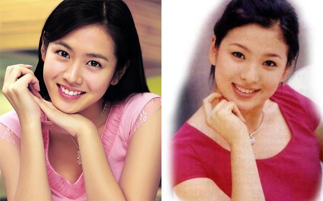 Hai mỹ nhân đắt giá nhất showbiz Hàn thủa mới vào nghề. Song Hye Kyo (phải), Son Ye Jin (trái).