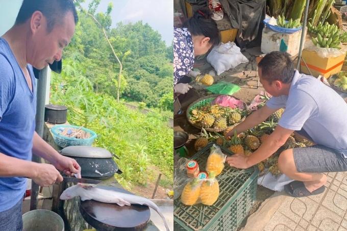Dù là một doanh nhân thành đạt, ông xã Vy Oanh không ngại đi chợ, vào bếp để nấu những món ăn ngon cho gia đình.