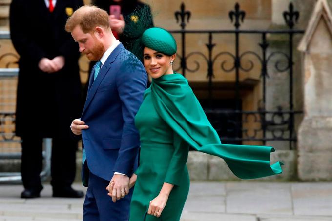 Nhà Sussex trong nhiệm vụ hoàng gia cuối hôm 9/3 tại Tu viện Westminster. Ảnh: AFP.