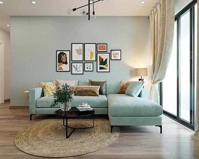1. Phòng khách: Một căn phòng khách tươi tắn, mát mẻ với bộ sofa xanh kết hợp cùng bức tường màu xanh nhạt. Để tránh cảm giác lạnh lẽo, đơn điệu, bạn có thể thêm vài bức tranh màu sắc cùng bộ gối ôm họa tiết để tạo điểm nhấn, giúp không gian sinh động và tràn sức sống.Tone màu xanh sáng còn mang tới hiệu ứng đánh lừa thị giác, không gian như được nới rộng ra, cao và thoáng hơn diện tích thực.