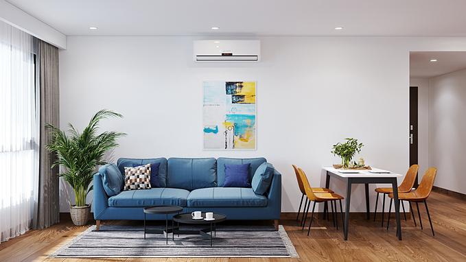 Xanh dương có thể bắt cặp với hầu hết mọi màu sắc mà không phá hỏng bảng màu. Xanh dương - trắng, xanh dương - xám là những tone màu được bắt cặp nhiều hơn cả. Đối với những người yêu thích sự đơn giản, một chiếc ghế sofa màu xanh dương đậm đi cùng khoảng tường trắng cũng có thể tạo nên một căn phòng bắt mắt.