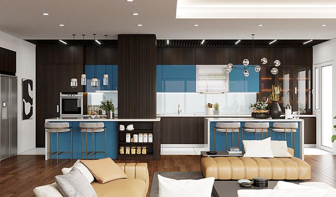 Phòng bếp:Bếp là nơi giữ lửa của gia đình, là nơi sau một ngày dài mệt mỏi cả nhà cùng quây quần bên mâm cơm nóng. Một căn bếp đẹp với tone xanh đậm cá tính sẽ tạo cảm hứng cho người nội trợ nấu những món ăn thơm ngon, bổ dưỡng cho cả gia đình.