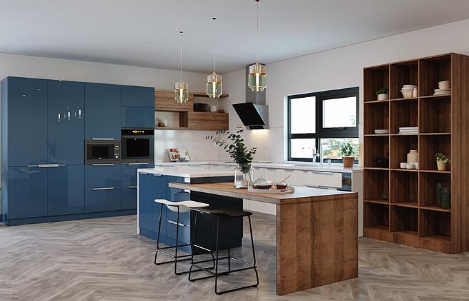 Căn bếp với tone xanh trắng chủ đạo kết hợp vân gỗ độc đáo. Chất liệu kim loại được kết hợp khéo léo thổi thêm hơi thở hiện đại cho căn bếp. Nếu lo lắng căn bếp bị tối do sử dụng nhiều sắc xanh, bạn có thể lựa chọn một số màu tone ấm để nhấn nhá thêm cho các vật trang trí.