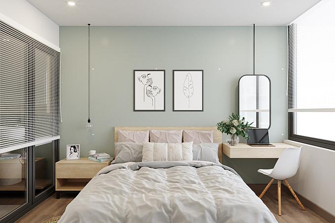 Phòng ngủ:Không chỉ được ưa chuộng trong thiết kế phòng khách và bếp, sắc xanh cũng là lựa chọn của nhiều gia đình khi thiết kế phòng ngủ. Thư giãn và an yên là những thông điệp mà sắc xanh lá nhạt mang đến cho căn phòng ngủ, bởi đây chính là thời điểm chúng ta cần sự yên bình, tĩnh tâm để sạc lại năng lượng. Không quá cầu kỳ trong việc trang trí, phòng ngủ hầu như chỉ sử dụng những đồ vật cơ bản, đáp ứng nhu cầu sử dụng hàng ngày của chủ nhân.