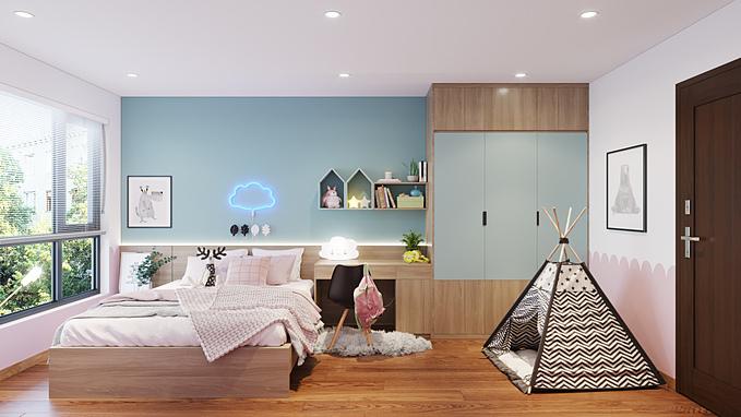 Tone xanh nhạt cũng thường được lựa chọn để phối cùng màu hồng tạo nên không gian độc đáo cho phòng ngủ của các bé. Bạn không nhất thiết phải tái tạo toàn bộ không gian với màu xanh. Tính linh động của màu sắc này giúp bạn dễ dàng thay đổi một điểm nào đó trong căn nhà nhưng vẫn thổi bừng sức sống mới.