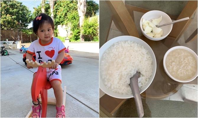 Con gái Thanh Thảo và bữa sáng được bố chuẩn bị.