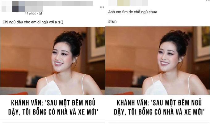 Những chia sẻ mỉa mai Khánh Vân trên mạng xã hội.