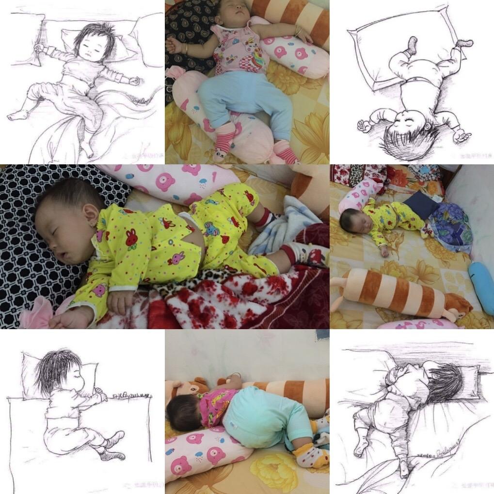 Chị Minh Trúc cho biết thích nhất chụp ảnh con khi ngủ vì bé ngủ nhiều tư thế nhìn rất đáng yêu.