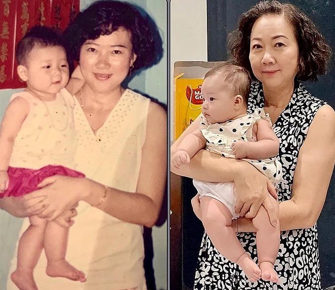 Bên trái: mẹ tôi và con gái của bà.Bên phải: mẹ tôi và con gái của con gái bà.Mới đây đã 27 năm rồi đó, Trấn Thành chia sẻ.