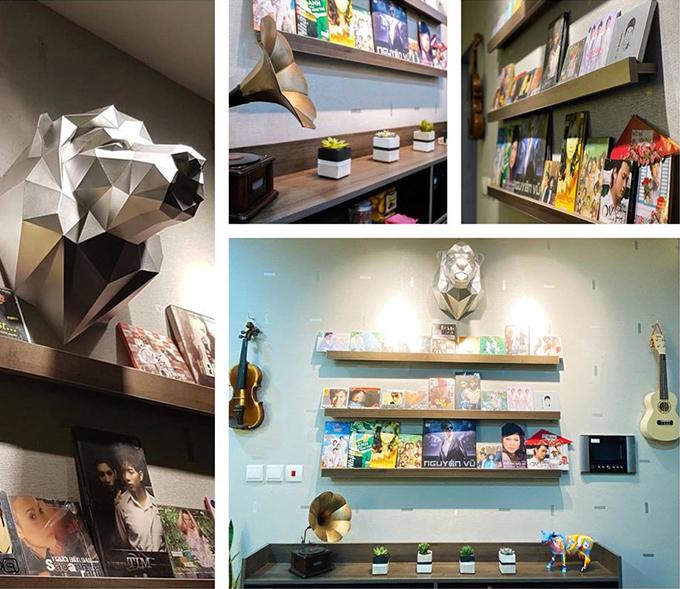 Nhạc sĩ đặt tủ trưng bày các sản phẩm, tủ trang trí và cây sen đá giúp làm đẹp không gian sinh hoạt chung.