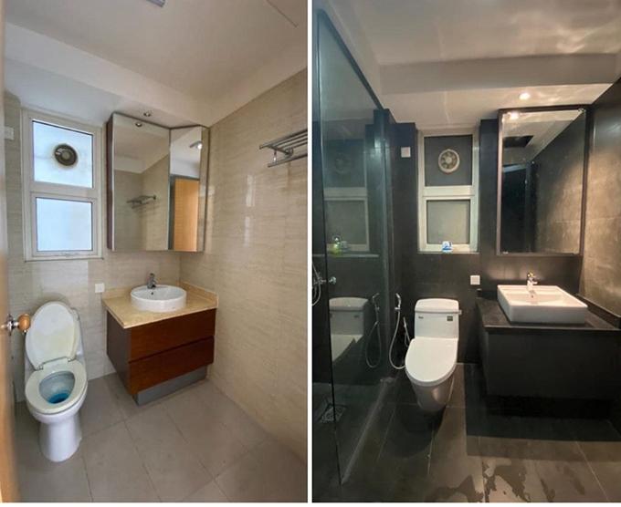 Nhà vệ sinh trong phòng ngủ chính trước và sau tân trang. Nam nhạc sĩ tham khảo ý tưởng trên Pinterest và quyết định chọn tông đen cho công trình phụ.