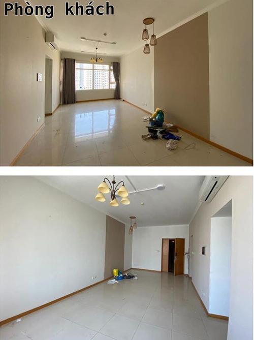 Căn hộ của nhạc sĩ Nguyễn Văn Chung trước khi cải tạo. Không gian sống của gia đình anh có diện tích 90 m2, nằm tại TP HCM. Phòng khách có ưu điểm vuông vức, tách biệt với bếp và các phòng chức năng.