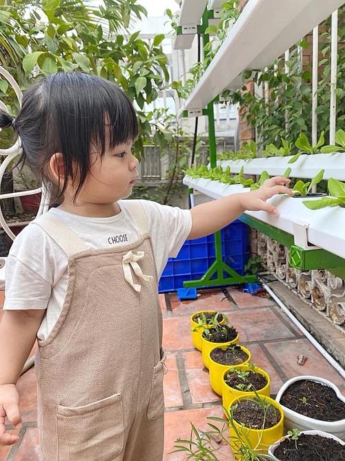 Annie rất thích ra vườn, giúp bố chăm sóc vườn rau thủy canh. Thỉnh thoảng, cả nhà cùng nhau thu hoạch rau để bé có những kỉ niệm đáng yêu nhất.