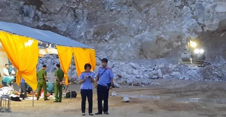 Hiện trường vụ sét đánh làm nổ mìn tại mỏ đá ở Điện Biên hôm 1/6.